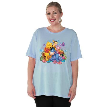 Women's Plus Size Winnie The Pooh Eeyore Tigger Piglet T-Shirt Light (Uh Huh Honey Shirt Winnie The Pooh)
