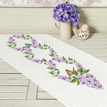 Embroidery Table Runner (Lilac Flower Table Runner Stamped Embroidery )