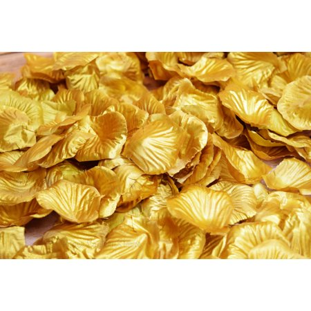 Quasimoon Gold Silk Rose Petals Confetti for Weddings in Bulk by PaperLanternStore
