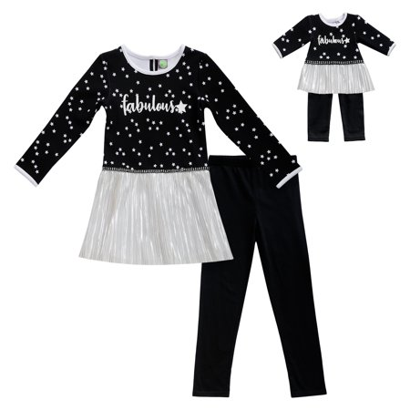Fabulous Ruffle Hem Long Sleeve Top and Legging, 2-Piece Outfit Set with Matching Doll Outfit (Little Girls & Big - Legging Outfits For Summer