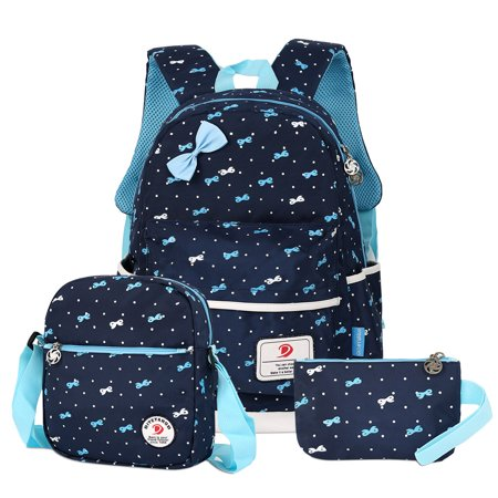Vbiger 3-in-1 School Bags Casual Student Daypack Chic Nylon Style Lightweight Backpack Set for Teenage Girls, Dark Blue ()