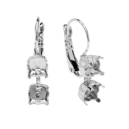 Gita Jewelry Stone Setting for Swarovski Crystal, Cup Chain Leverback Earrings for 2 SS29 Chatons, 1 Pair, Rhodium Plated