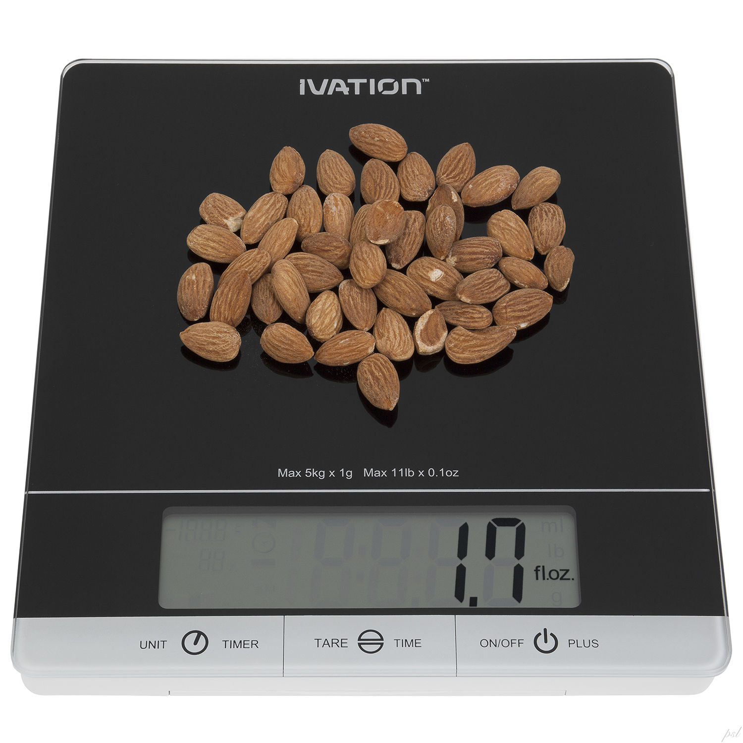 Ivation Glass Top Digital Kitchen Scale w/Timer, Clock, Temperature & RH Levels - Black