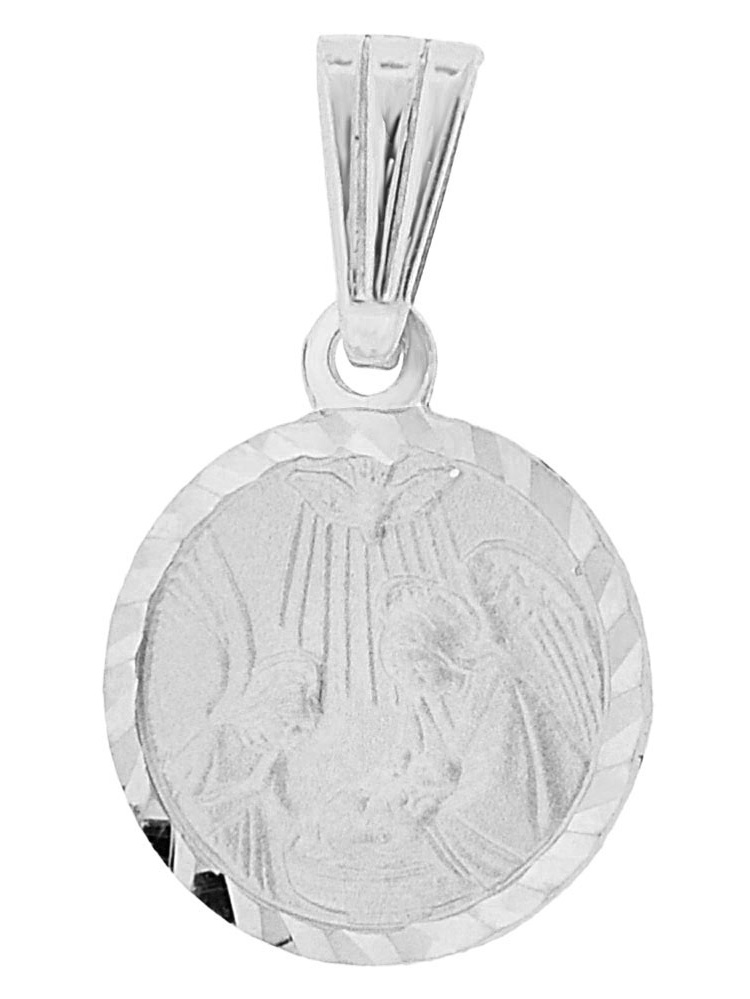 14k White Gold, Infant Baptism Christening Pendant Charm Round Medal 12mm