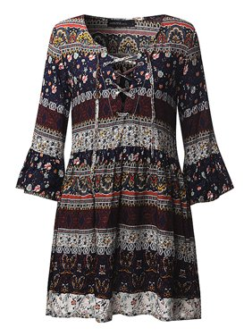 Women's V Neck Flounce Sleeve Casual Floral Print Dresses