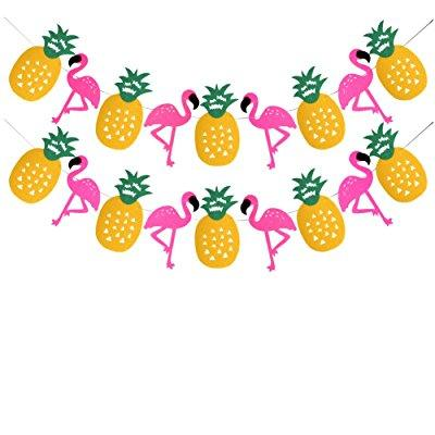 tropical party decorations banner flamingo pineapple for luau hawaiian summer party supplies