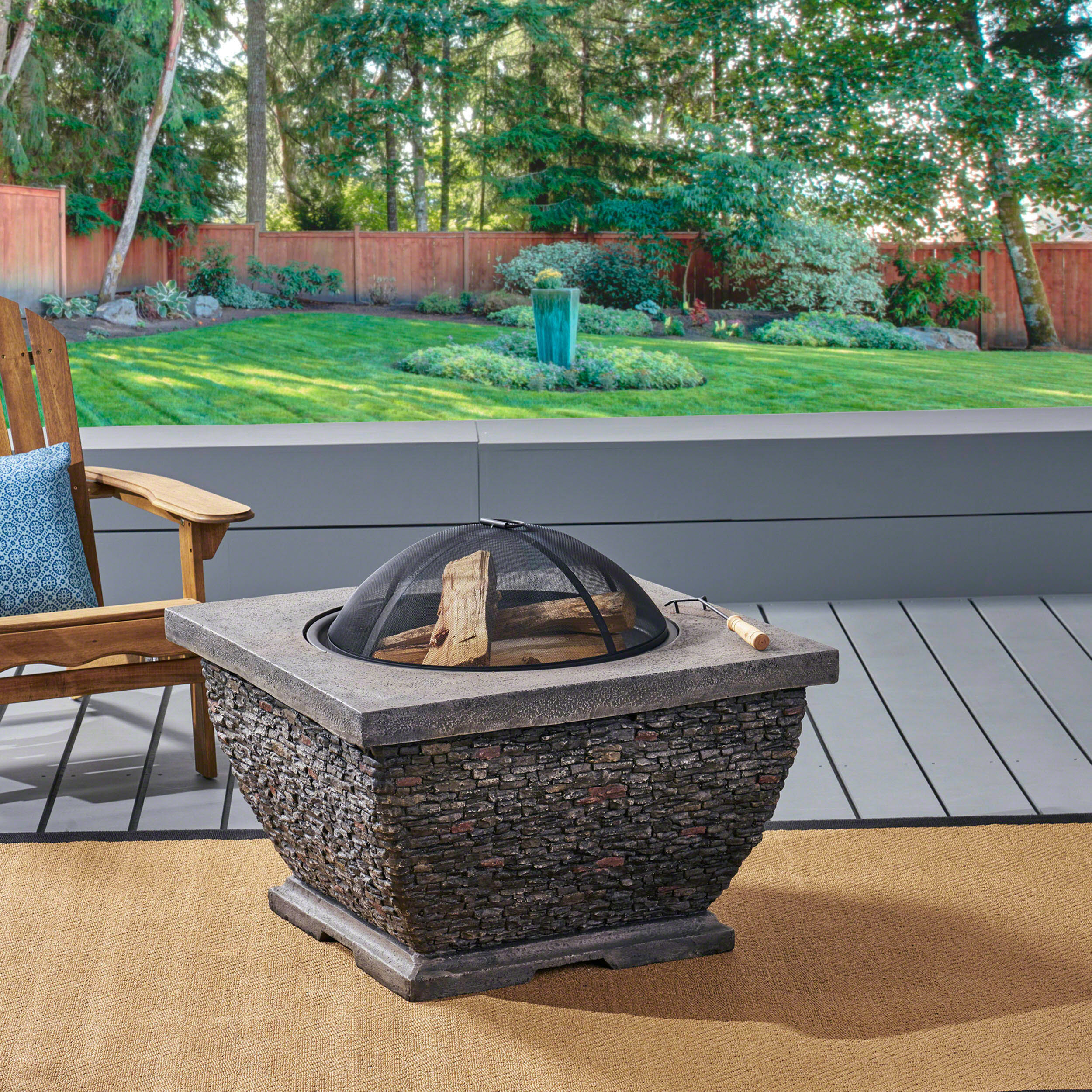 """Outdoor 32"""" Wood Burning Light-Weight Concrete Square Fire Pit, Grey"""