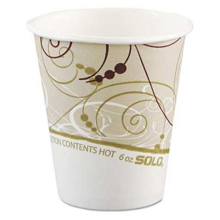 Solo Cup Company 376SMSYM Paper Hot Cups In Symphony Design, Polylined, 6oz, Beige/white, 1000/carton
