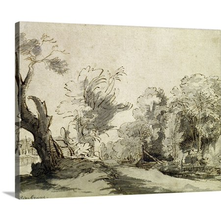 Great BIG Canvas Rembrandt van Rijn Premium Thick-Wrap Canvas entitled Landscape with a path, an almost dead tree and a footbridge