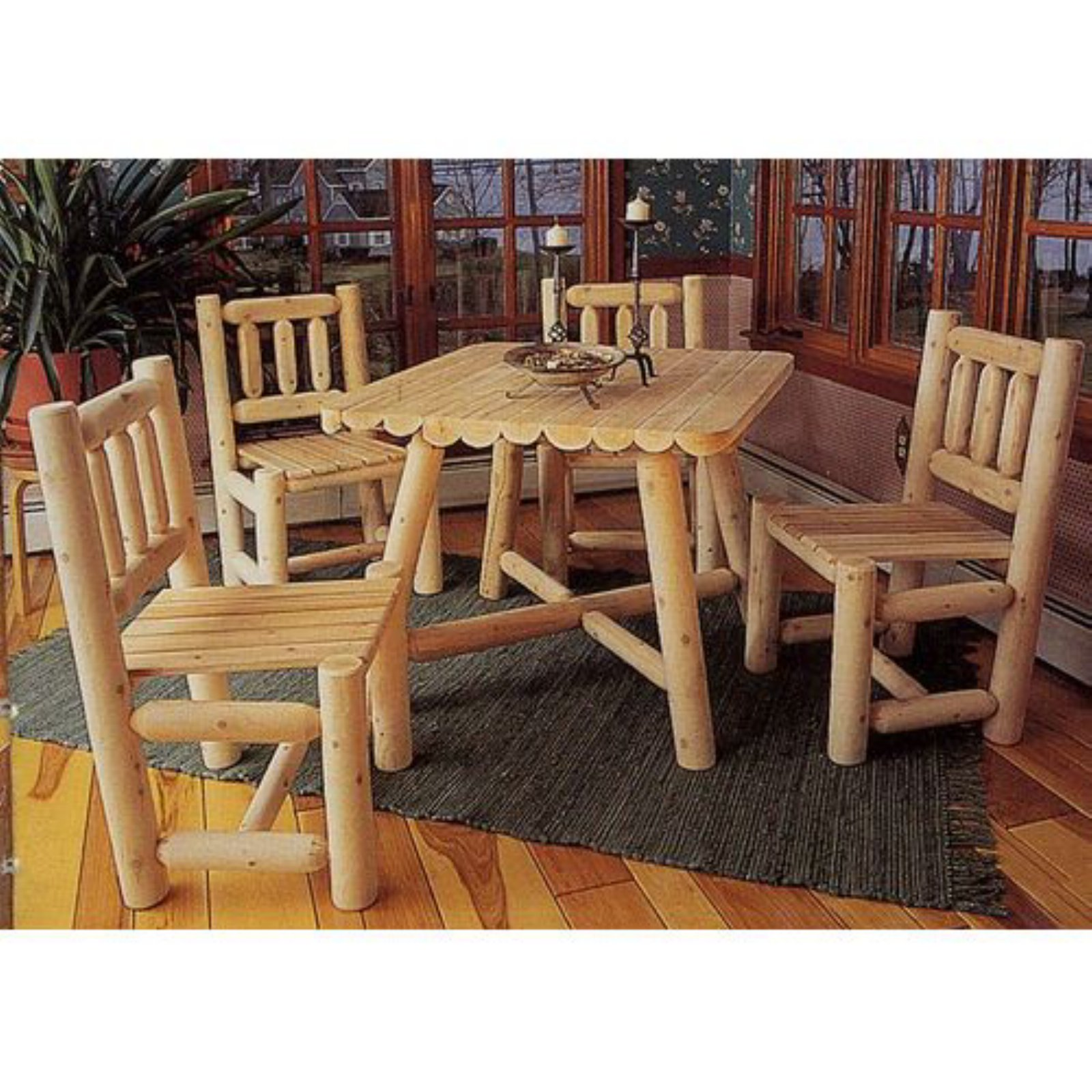 Rustic Natural Cedar Furniture Old Country 5 Piece Square Patio Dining Room Set by Rustic Warehouse Inc