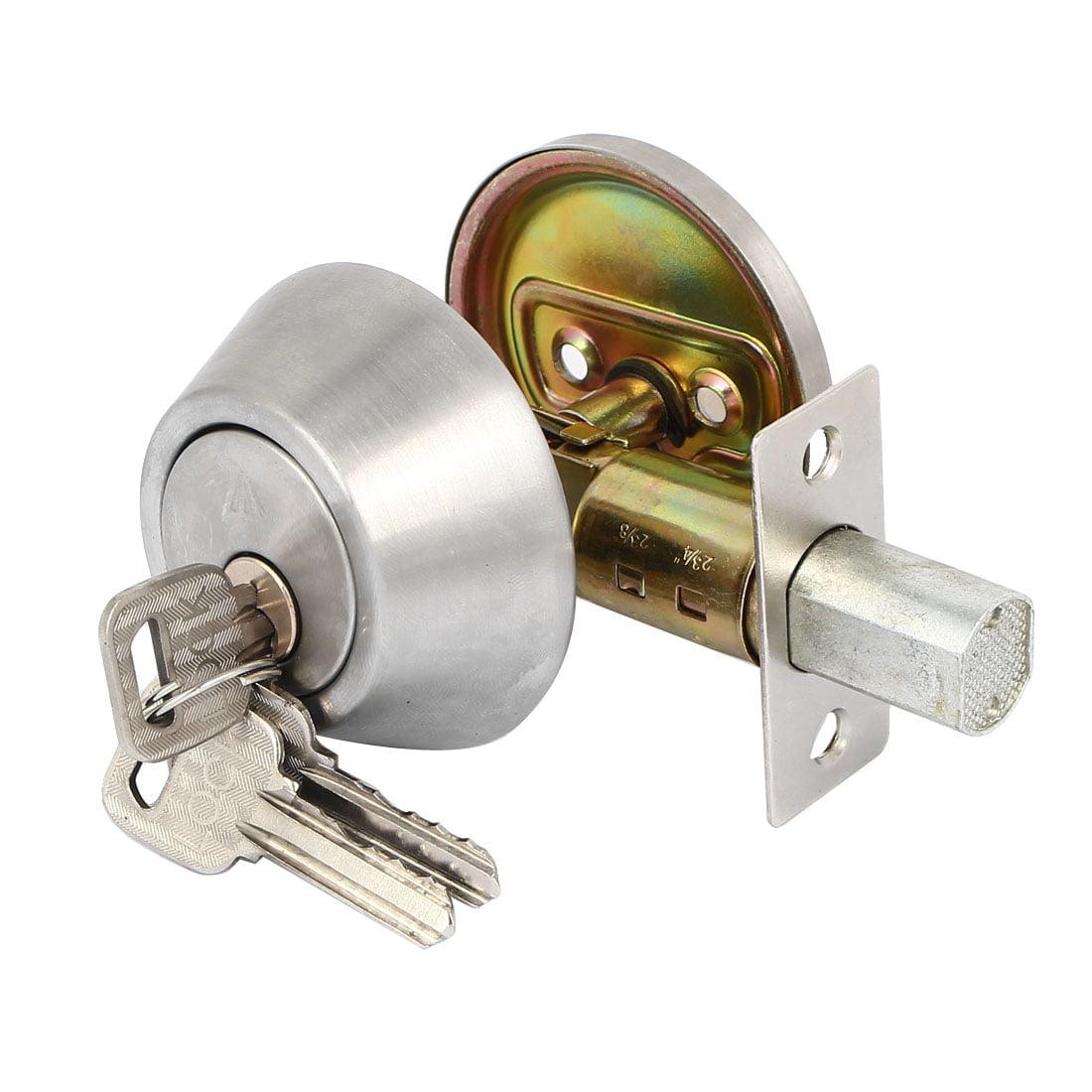 House Bedroom Door Metal Security Deadbolt Door Locks with keys Sliver Tone w Keys