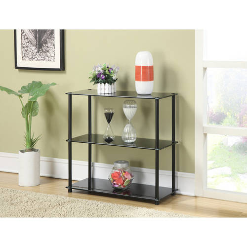 Convenience Concepts Designs2Go No Tools 3-Shelf Glass Bookcase, Multiple Colors