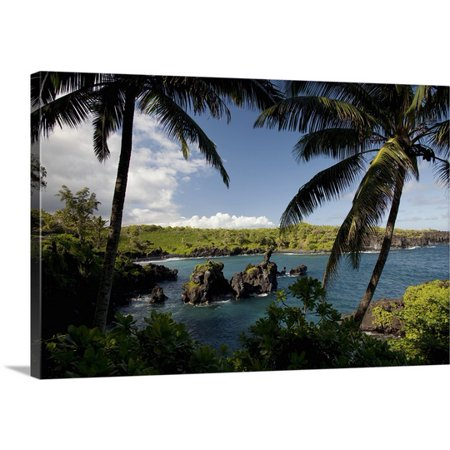 Great BIG Canvas Jenna Szerlag Premium Thick-Wrap Canvas entitled Hawaii, Maui, A sunny view of Waianapanapa from behind palm -