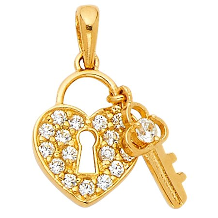 Key Lock Heart Pendant Solid 14k Yellow Gold Charm Love Style CZ Key To My Heart Polished Fancy 13 x 18 mm (Gold Key Pendant)