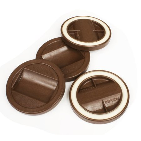 Slipstick 3-1/4 Inch Large Caster Cup Grippers, Ideal for Bed Rollers, Brown, Set of