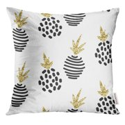 RYLABLUE Black Scandinavian Abstract Pineapple White Collection Modern Shimmer Details Stylish Yellow Throw Pillowcase Cushion Case Cover
