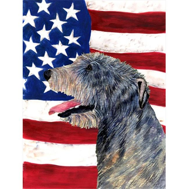 Carolines Treasures SS4033CHF 28 x 40 in. USA American Flag with Irish Wolfhound House Size Canvas Flag - image 1 of 1