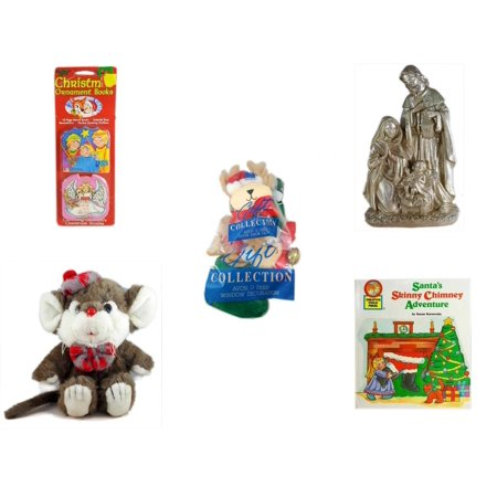 - Christmas Fun Gift Bundle [5 Piece] - Xmas Ornamentbooks: 3 Kings, Angel Get Her Wings - Silver Glitter Nativity Scene - Avon Collection O Deer Door Knob Cover & Window Decoration -  Beret & Bowtie