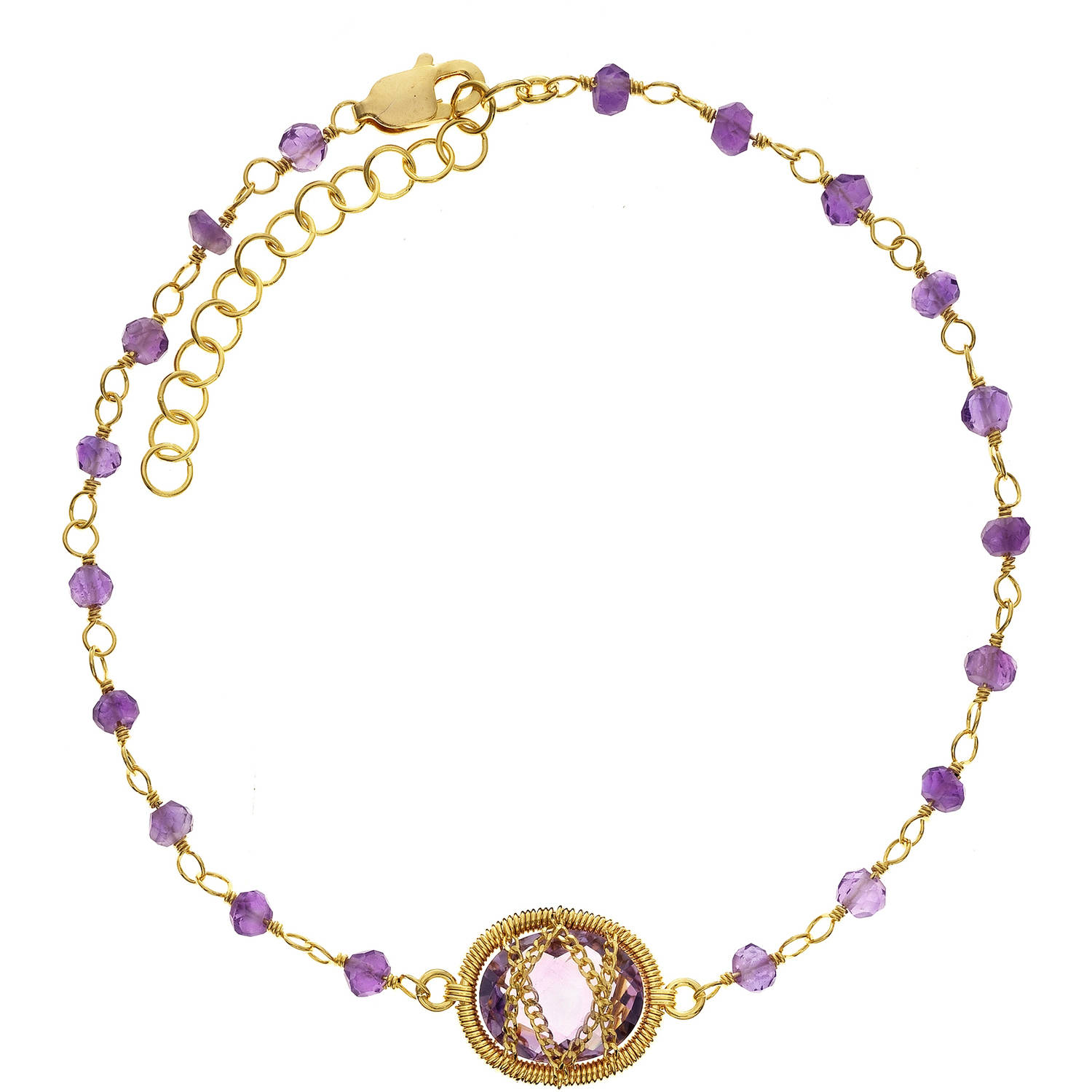 Image of 5th & Main 18kt Gold over Sterling Silver Hand-Wrapped Beaded Amethyst Stone Bracelet