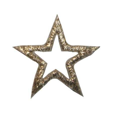 ID 3487 Silver Star Outline Patch Shiny Sky Symbol Embroidered Iron On -