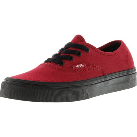 Vans Authentic Black Sole Jester Red Ankle-High Canvas Skateboarding Shoe - 7M / 5.5M