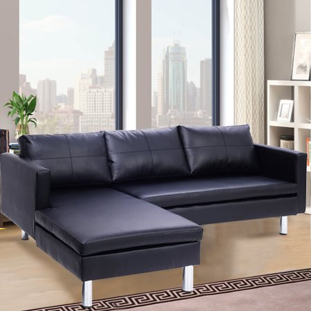 Costway Corner Sofa 3 Seater Couch Chaise Lounge Modern Furniture Black