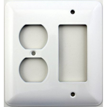 mulberry princess style white two gang combination switch plate - one duplex outlet opening one gfi/decora (Hole 2 Gang Aluminum Outlet)