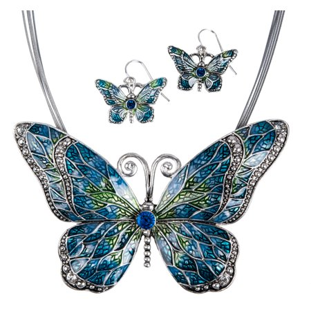 Inlay Set (Butterfly Pendant Necklace with Enamel Inlay and Matching Earrings)
