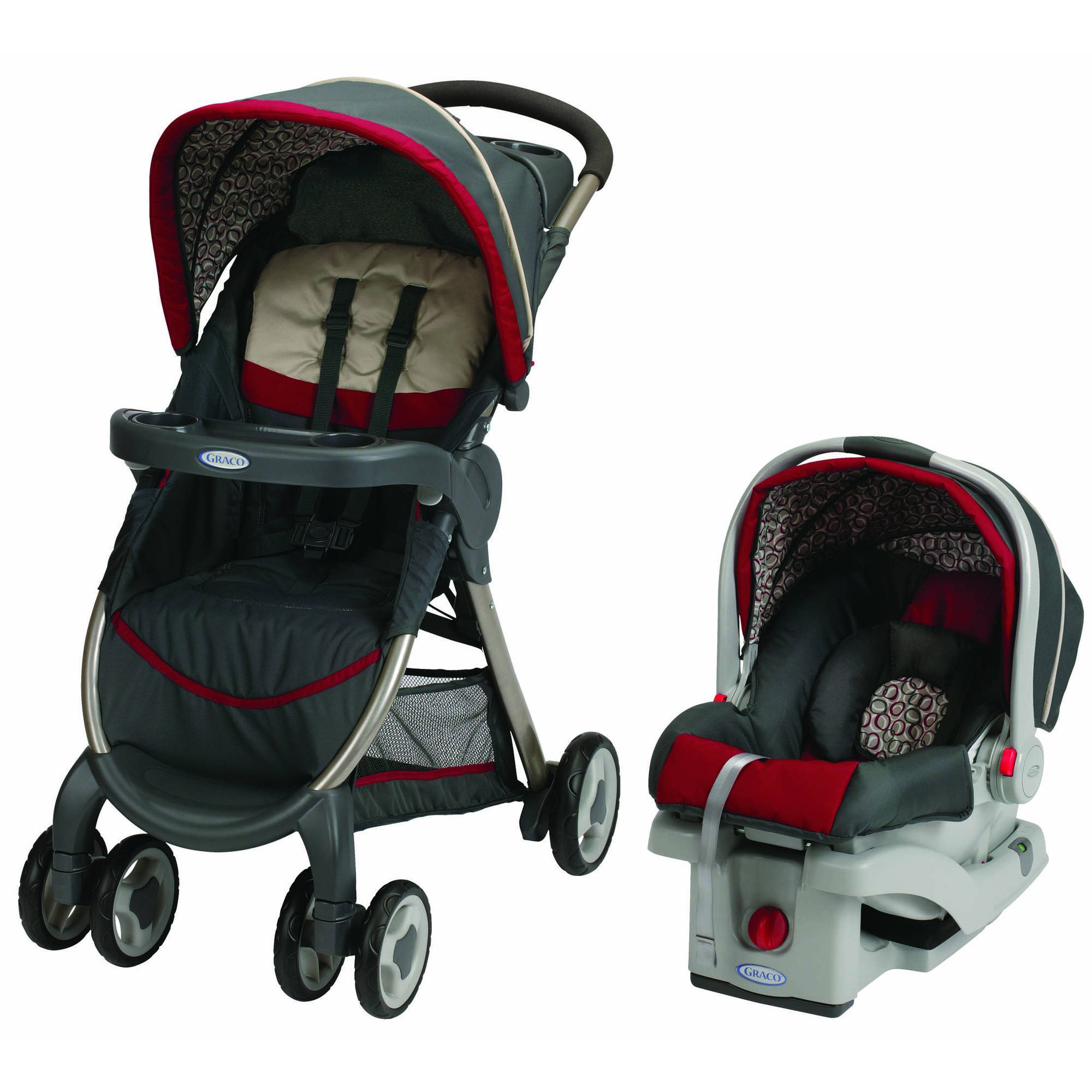 Graco FastAction Fold Click Connect Travel System, Car Seat and Stroller, Finley