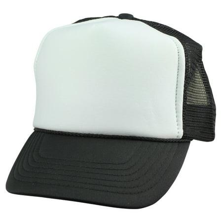 DALIX Youth Mesh Trucker Cap - Adjustable Hat in Black/White Front Foam