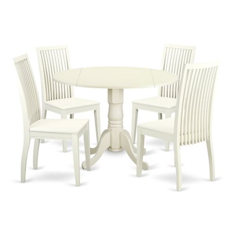 39c30bfb66365 August Grove Spruill 5 Piece Drop Leaf Breakfast Nook Solid Wood Dining Set  - Walmart.com