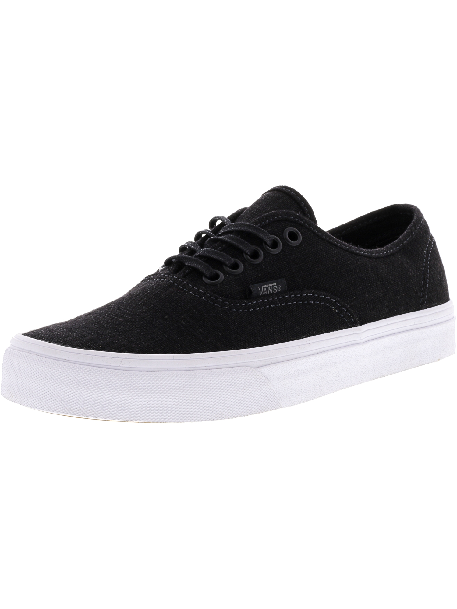 d05fa2a2ec Vans - Vans Authentic Hemp Linen Black   True White Ankle-High Canvas  Skateboarding Shoe - 8M 6.5M - Walmart.com