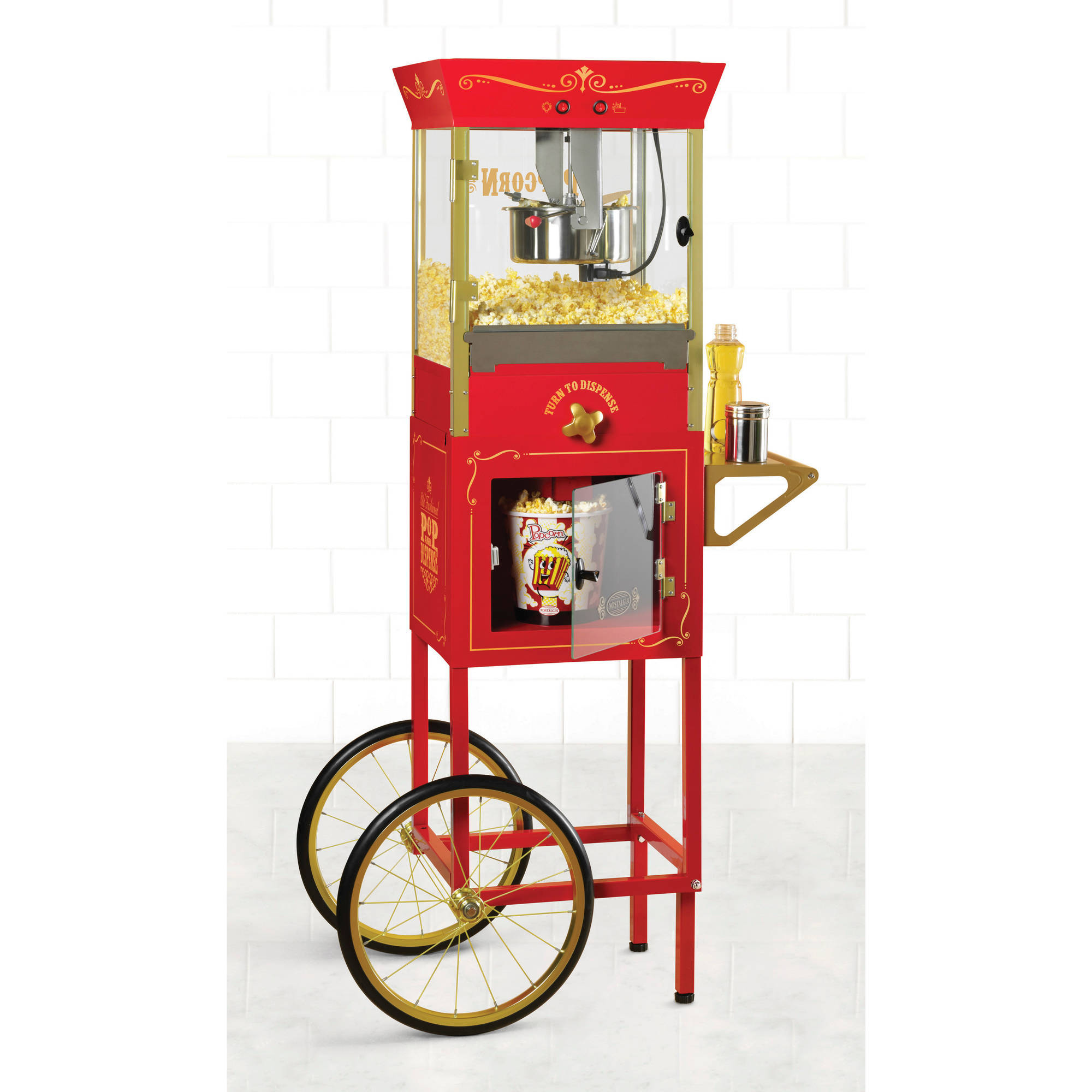 "Nostalgia Electrics 59"" Tall Vintage Collection 8-Ounce Kettle Commercial Dispensing Popcorn Cart, CCP810"
