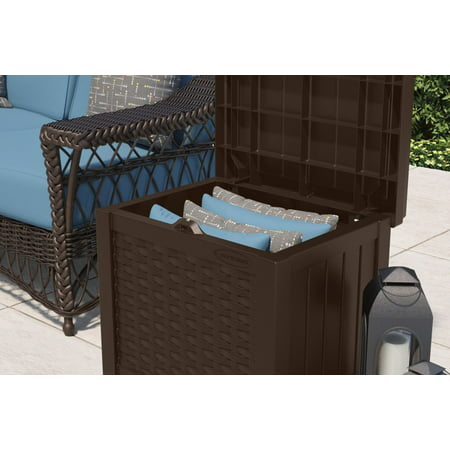 Suncast 22 Gallon Outdoor Resin Wicker Deck Storage Box, Java Brown