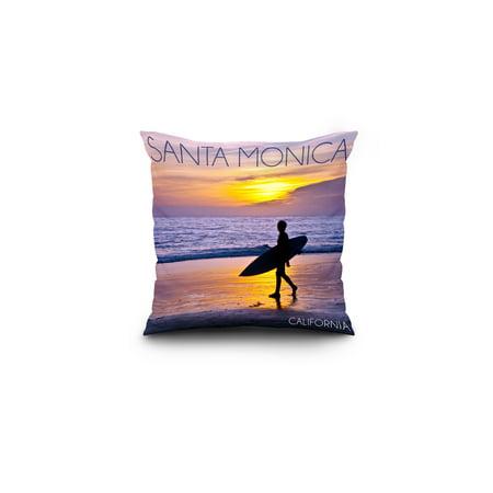 Santa Monica California Surfer Sunset Lantern Press Photography 16x16