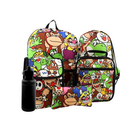 Super Mario Boys Girls 6 piece Backpack and Lunch Box School Set NMKIT103 (Boys Backpack And Lunchbox)