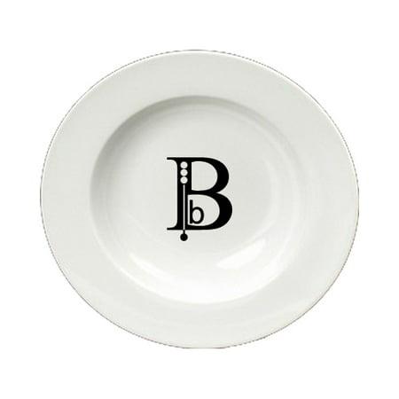 Letter B Initial Monogram Modern Round Ceramic White Soup Bowl CJ1056-B-SBW-825 - Round Monogram