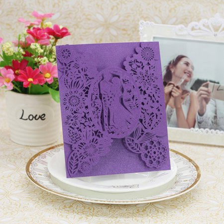 20pcs Romantic Wedding Party Invitation Cards Delicate Carved Pattern Banquet