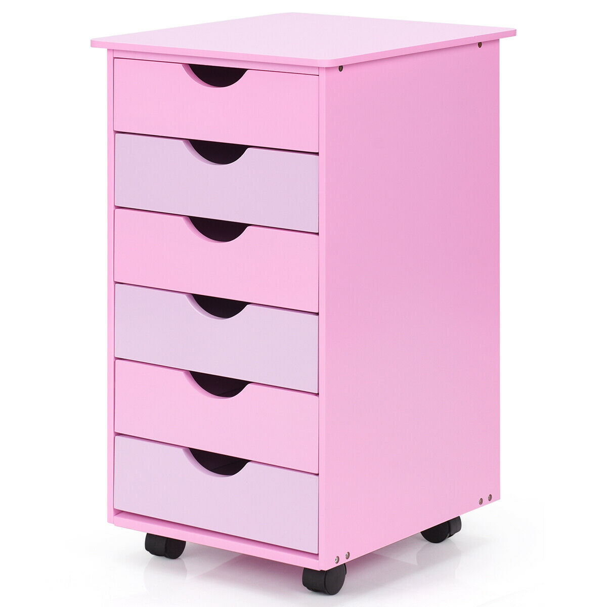 Costway 6 Drawer Wood Mobile File Cabinet Rolling Organizer Storage Office Home Pink Walmart Com