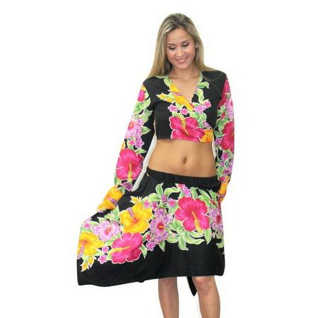 752e0cdc407 HAPPY BAY - HAPPY BAY Black Floral Likre Long Sleeves Skirt Swimwear ...