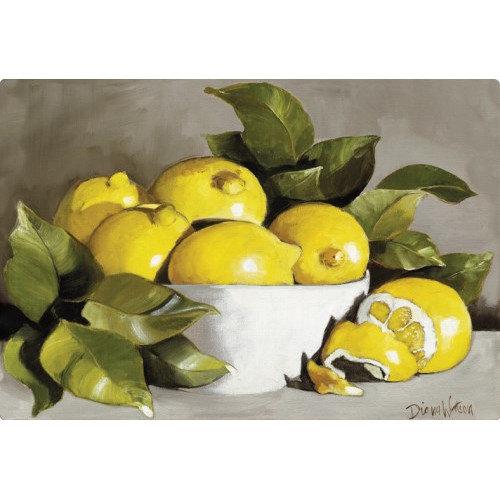 Magic Slice Lemons in a White Bowl by Diana Watson Non-Slip Flexible Cutting Board