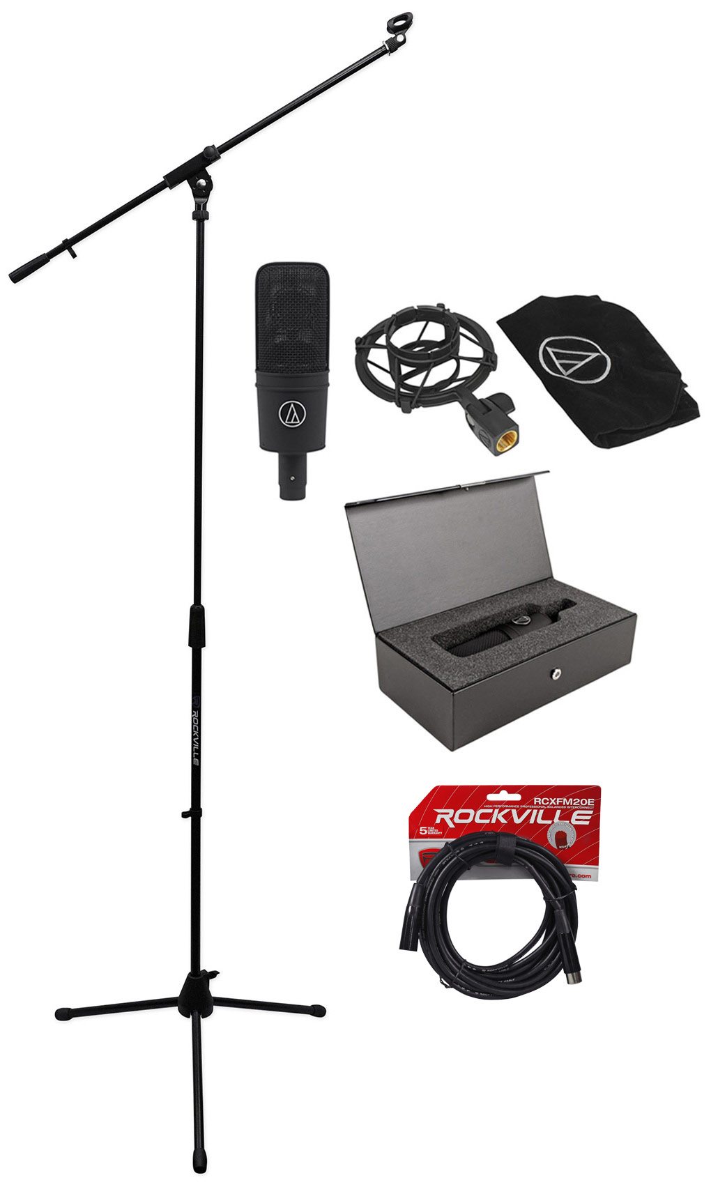 Audio Technica AT4040 Cardioid Condenser Microphone Mic +Tripod Stand +Mic by Audio Technica