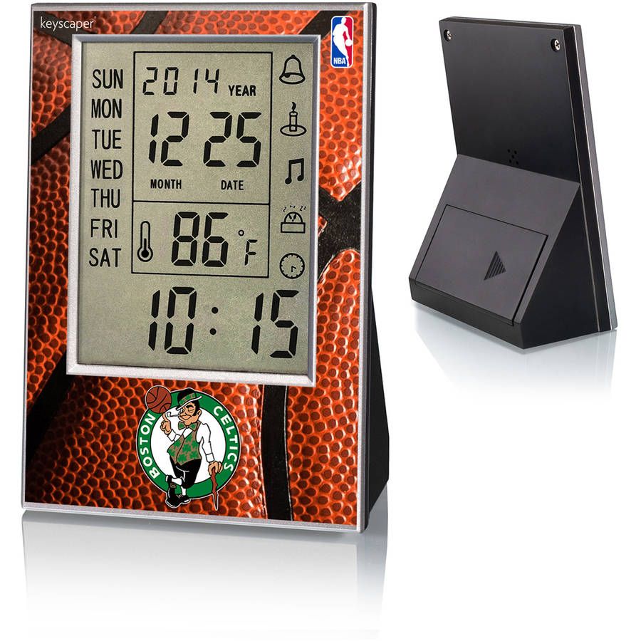 Boston Celtics Basketball Design Digital Clock by Keyscaper