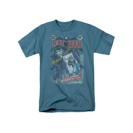 Blue And Grey Batman (Batman DC Comics #251 Distressed Joker's Back Adult T-Shirt)