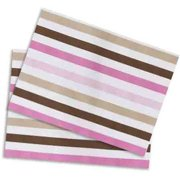 Bacati - Mod Stripes Crib/Toddler Bed Fitted Sheets 100% Cotton Percale, Pink/Choc, 2-Pack