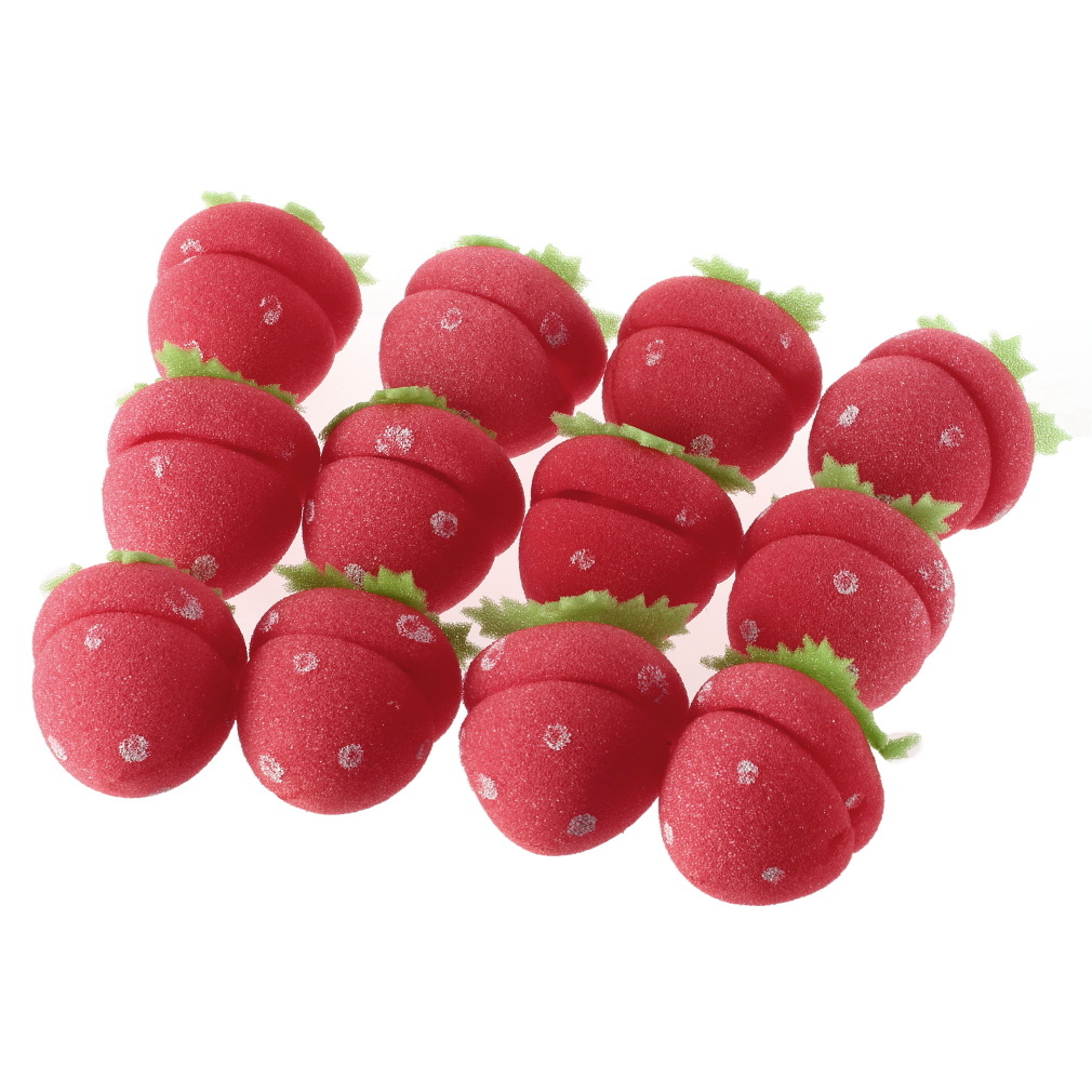 12x Strawberry Balls Hair Care Soft Sponge Rollers Curlers Lovely DIY Tool