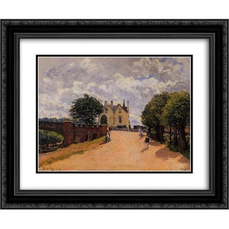 Alfred Sisley 2X Matted 24X20 Black Ornate Framed Art Print Inn At East Molesey With Hampton Court Bridge