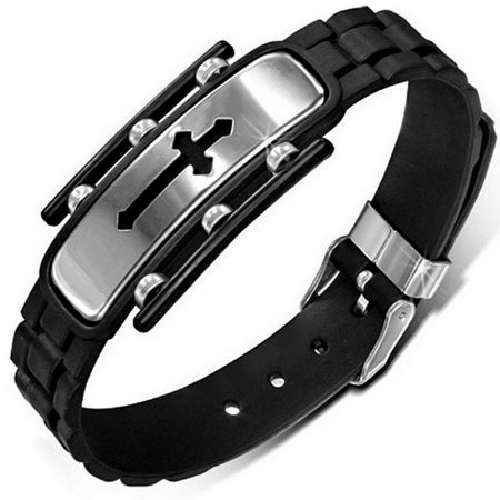 Stainless Steel Black Rubber Silicone Medieval Cross Silver-Tone Mens Adjustable Bracelet