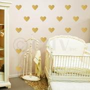 "Hearts 6"" Set of 18 Wall Pattern Decal Vinyl Sticker (Metallic Gold)"