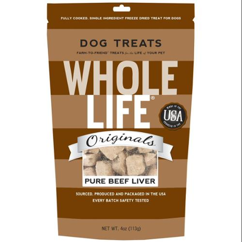 Whole Life Pet Single Ingredient USA Freeze Dried Beef Liver Treats for Dogs-4oz